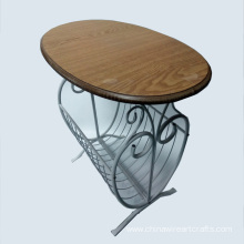 White Metal And Wooden End Table
