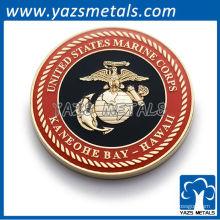 Passen Sie militärische Münzen, maßgeschneiderte marine Korps Münze mit weichen Emaille