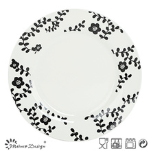 27cm White Porcelain with Decal Grass Dinner Plate