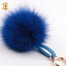 Colourful Cute Promotional Fox Fur Ball Keychain Real Fox Fur Pom Key Ring