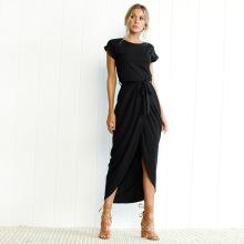 2020 Spring Summer Autumn Fashion Short-Sleeved Front Split Irregular Short-Sleeved Slim Dress