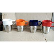 Láser grabado de acero inoxidable Bottom Ceramic Mug