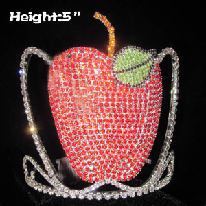 5in Height Solid Rhinestone Apple Crowns