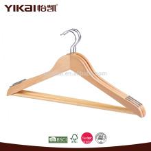 Colgador adulto de la camisa de madera con la barra de los pantalones y hombros antideslizantes
