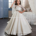 classic European and American retro satin baby girl wedding dress middle sleeve laced heavy beaded gown flower girl tulle dress