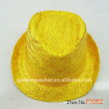 Dyed yellow straw fedora hat natural cheap promotional gift with custom design logo