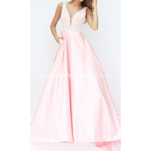 V Neck Beading Prom Dress Ball Gown