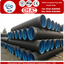 Dn50-Dn1800 HDPE double mur ondulé tuyau pour ceinture verte