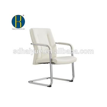 2017 high quality white pu conference chair with metal armrest