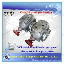 Bomba de engranajes circular de acero inoxidable de la serie YCB con camisa para la conservación del calor