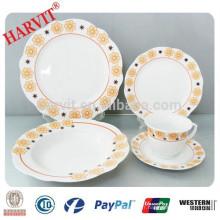 Ensemble de vaisselle en porcelaine super blanc 20pcs Cut Edge