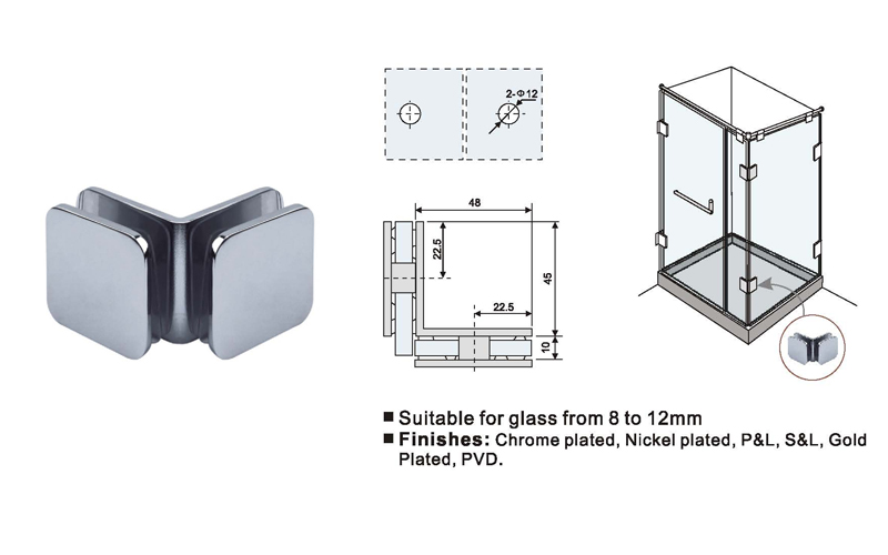 Radius Edge Design Shower Screen Clamps