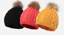 fashion accessory women girls outdoor beanie hat with puffball pearls