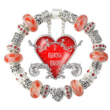 Valentine Gifts Silver Love Heart Red Charm Bead Bracelets Af21
