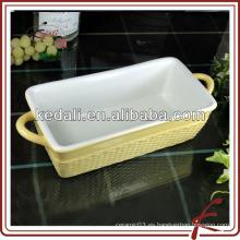 2014 cacerola de lasaña de gres porcelana mini con mango