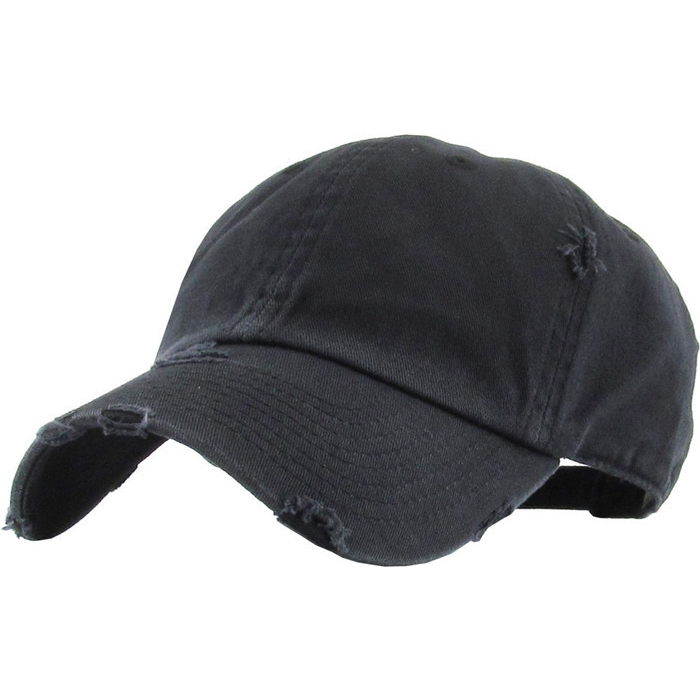 Wholesale Solid Blank Distressed Baseball Cap Washed 2