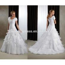 WD0132 colher de decote e costas manga curta flor em um ombro em camadas de juif tribunal trem organza e vestido de noiva de babados