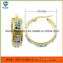 Shineme joyas de colores de piedra de moda chapado en oro pendiente (ERS6917)