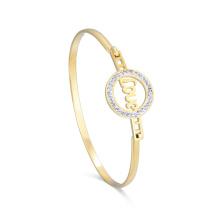 Hermosa pulsera de brazalete de oro sin fin chapado en oro para novia