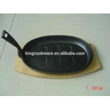 assadeira de ferro fundido assada panela com base de madeira