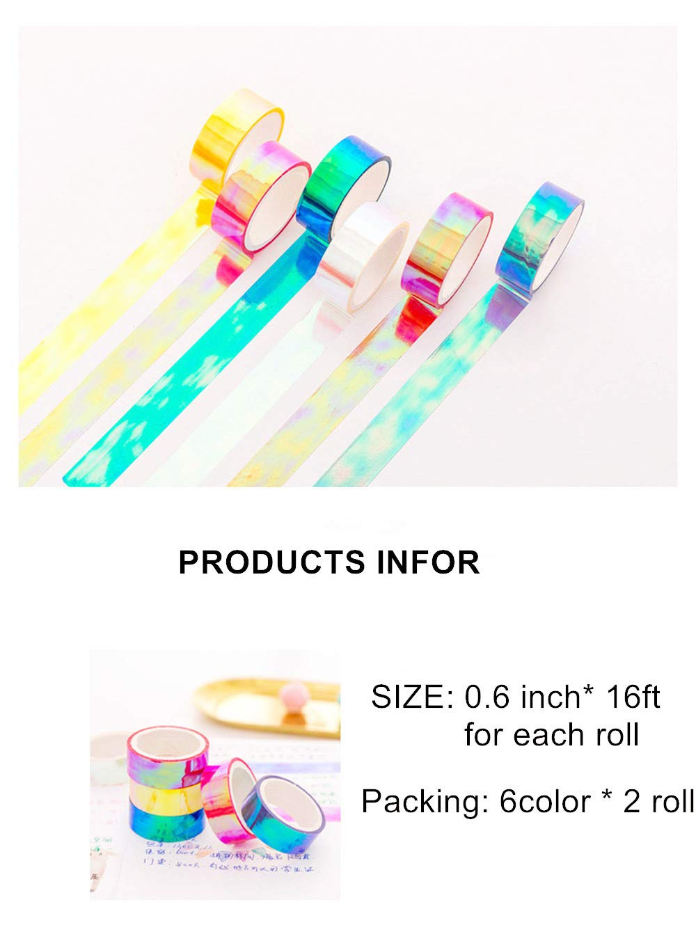 Holographic Rainbow Colored Masking Tape 2