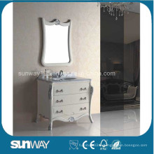 Vanité de salle de bain antiquité Style Europe avec dessus en marbre (SW-8017A)