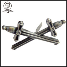 Antique silver Two sword pin badges