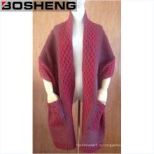 Модный шарф вязать два торца карманы акриловые зимние шарфы платки
