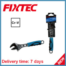 "Fixtec Hand Tools 6"" CRV Adjustable Wrench with Plastic Handle"