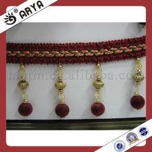 Velvet Beaded Fringe With Pumpkin Beads Decoration Curtains Trims Acrylic-Beaded-Fringe-Trim