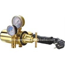 electrically heated regulator flow gauge for CO2