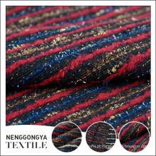 Logotipo personalizado Atacado Confortável chenille listrado tecido de tweed