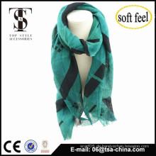 2015 modische Lady Frauen grün bequemen dünnen Tartan Schal Schal