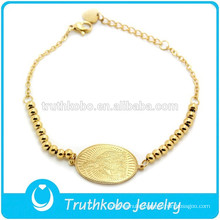 TKB-B0059 18K Solid Gold Madonna Virgin Mary Bracelet Gold Filled Engrave