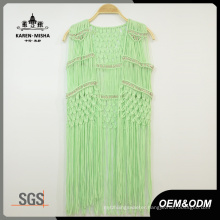 Women Special Design Metallic Bead Green Beachwear