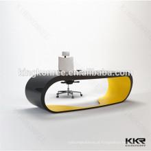superfície contínua de mármore artificial, mesa de trabalho de escritório, mesa de recepção de escritório
