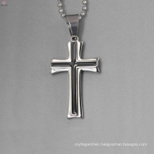 Wholesale simple silver pendant design, enamel black cross pendant