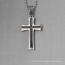 Design simples pingente de prata por atacado, pingente de cruz preta esmalte