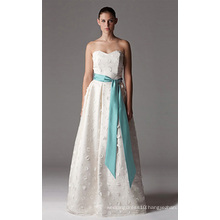 A-line Sweetheart Floor-length Stain Tulle Wedding Dress