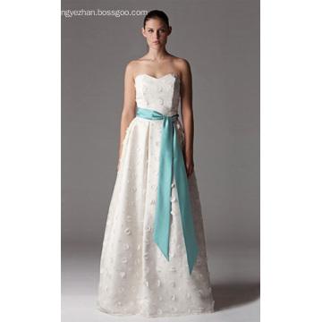 A-line Sweetheart Floor-length Stain Tulle Wedding Dress