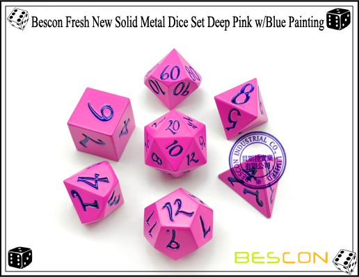 Bescon Fresh New Solid Metal Dice Set Deep Pink with Blue Painting-1