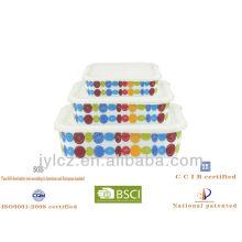 almacenamiento cuadrado de alimentos de cerámica con tapa de silicona, juego de 3, diseño azul de punto redondo