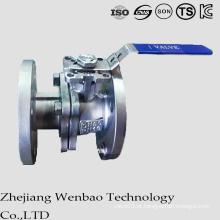 Válvula de esfera de flutuação flangeada de aço inoxidável do ISO com punho de Manul