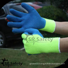 SRSAFETY 7 gauge Acrylic Nappy Knitted super safe blue latex working gloves/blue safety latex working gloves