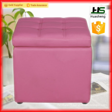Low price folding storage leather ottoman pouf