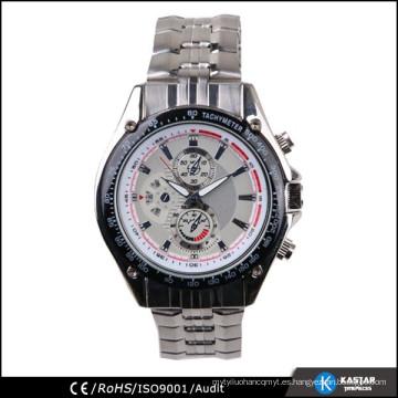 Reloj de hombre de lujo, reloj de cuarzo de acero inoxidable de vuelta