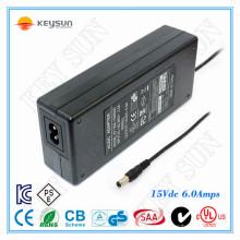 Fuente de alimentación del LED 15V6A para la luz de tira llevada
