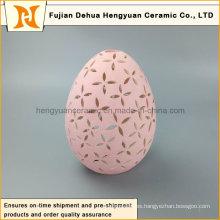 Nuevo producto rosa huevo forma cerámica Tealight Candle Holder