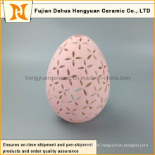 New Product Pink Egg Shape Ceramic Tealight Candle Holder