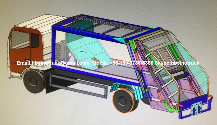 8cbm Garbage Compactor 3D Drawing